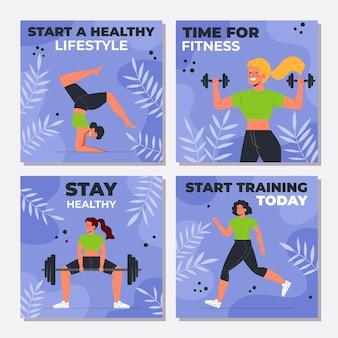 Coleção de postagens do instagram sobre saúde e boa forma