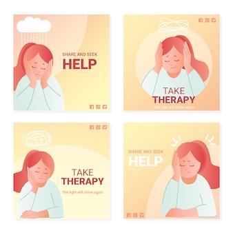 Coleção de postagens do instagram sobre saúde mental