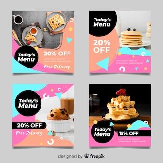 Coleção de postagens do waffles e muffins no instagram