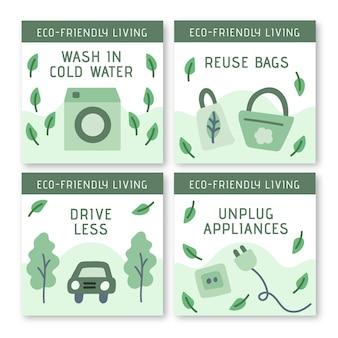 Coleção de postagens ecológicas para instagram