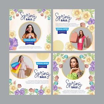 Coleção de postagens em aquarela de primavera