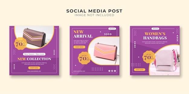 Coleção de postagens em mídias sociais para loja de bolsas femininas