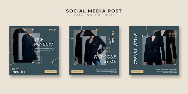 Coleção de postagens em mídias sociais para venda de moda