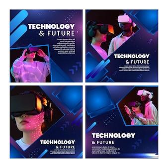 Coleção de postagens futuras do instagram e tecnologia