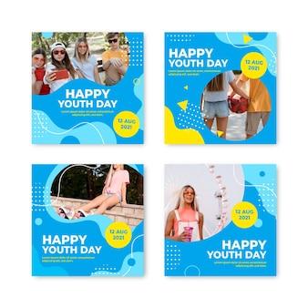 Coleção de postagens gradiente do dia internacional da juventude com foto