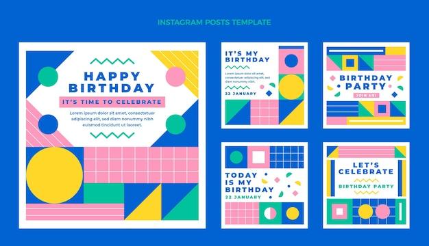 Coleção de postagens instagram de aniversário em mosaico plano