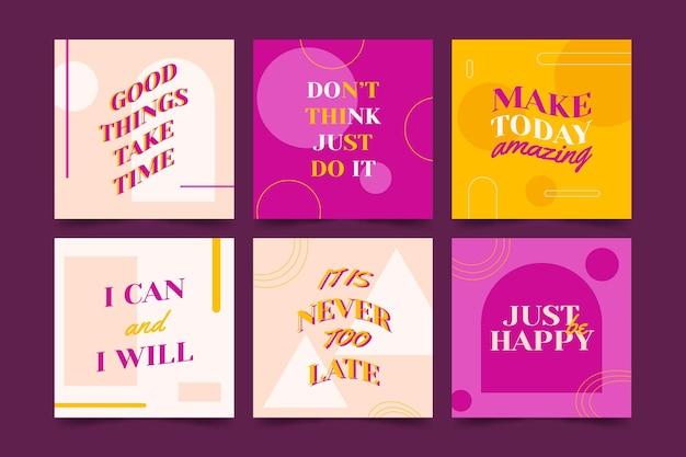 Coleção de postagens instagram de citações inspiradoras planas