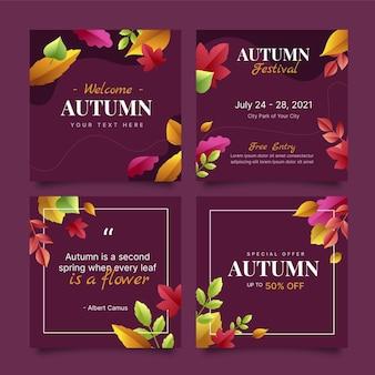 Coleção de postagens instagram de outono em gradiente