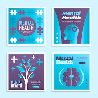 Coleção de postagens instagram de saúde mental plana
