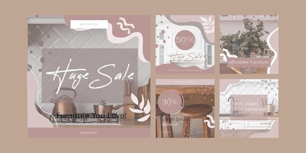 Coleção de postagens instagram de venda de móveis planos orgânicos