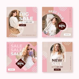 Coleção de postagens instagram de venda plana com foto