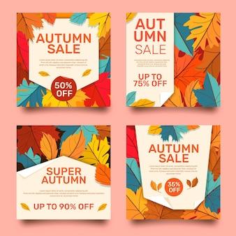 Coleção de postagens instagram de venda plana de outono