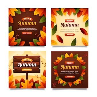 Coleção de postagens instagram planas de outono