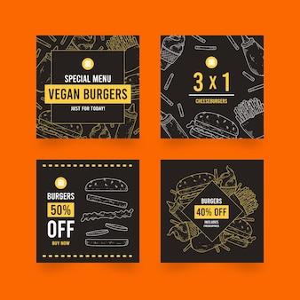 Coleção de postagens no instagram de venda de hambúrgueres