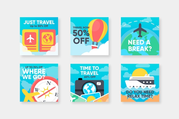 Coleção de postagens no instagram de viagens