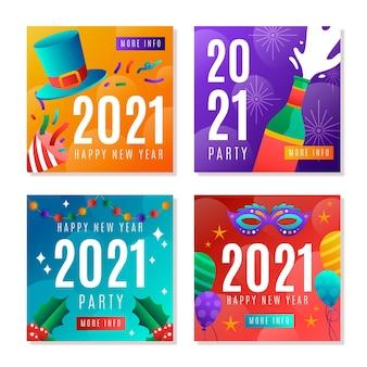Coleção de postagens para festa de ano novo de 2021