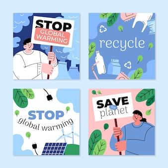 Coleção de postagens planas sobre mudanças climáticas desenhadas à mão