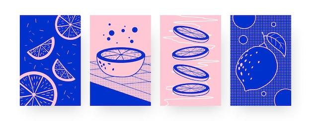 Coleção de pôsteres contemporâneos com limas cortadas. ilustrações inteiras de limão, metades e fatias em estilo criativo. verão, conceito de fruta para designs, redes sociais,