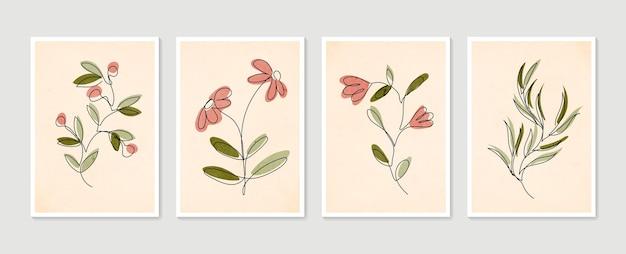 Coleção de pôsteres contemporâneos de uma linha. conjunto de arte de parede botânica. arte de parede mínima e natural.