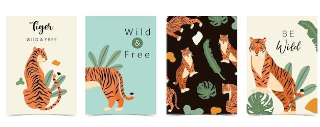 Coleção de pôsteres de animais com ilustração de tigres