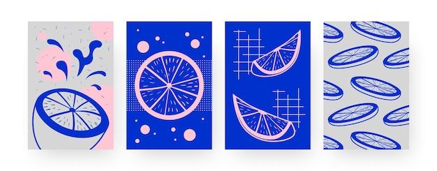 Coleção de pôsteres de arte contemporânea com fatias de limão. corte ilustrações de frutas cítricas em estilo criativo. verão, conceito de fruta para designs, redes sociais,