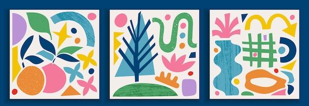 Coleção de pôsteres de arte contemporânea em cores vibrantes. elementos geométricos modernos abstratos e formas de corte orgânicas e de papel, objetos de doodle. ótimo design para mídia social, cartões postais, impressão.
