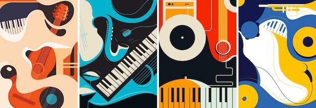 Coleção de pôsteres de jazz.