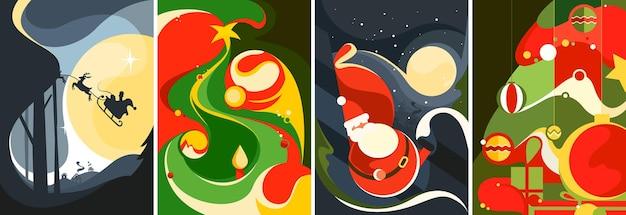 Coleção de pôsteres de natal. modelos de cartões postais diferentes.