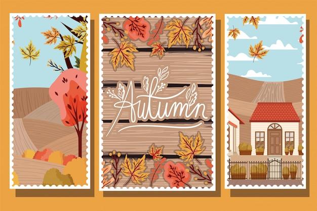 Coleção de pôsteres de outono