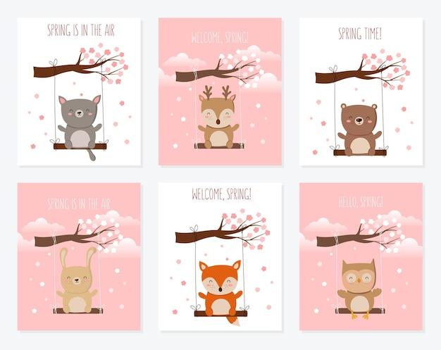 Coleção de pôsteres de vetor com animais fofos e slogan de primavera