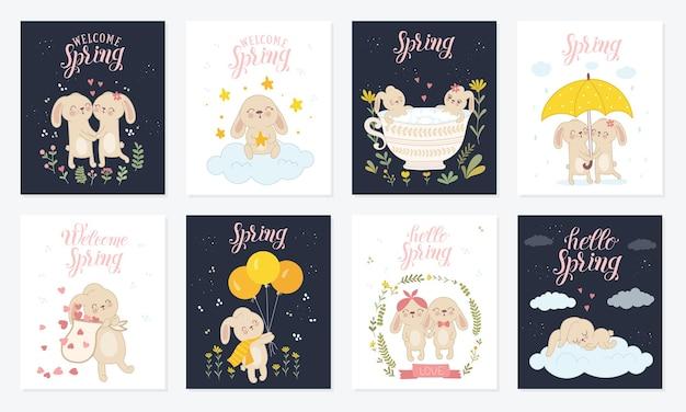 Coleção de pôsteres de vetor com coelhos fofos e slogan de primavera