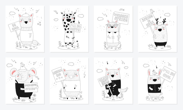 Coleção de pôsteres de vetor com desenhos animados de animais engraçados e transparências