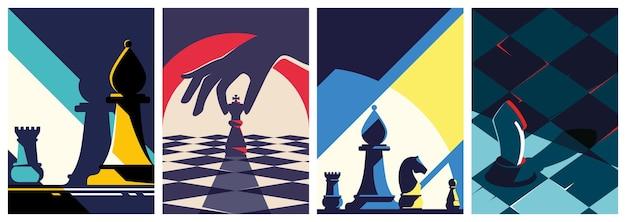 Coleção de pôsteres de xadrez.