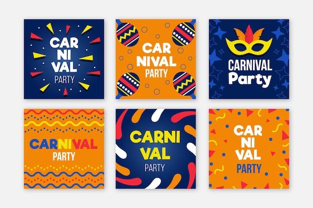 Coleção de posts do instagram de festa de carnaval