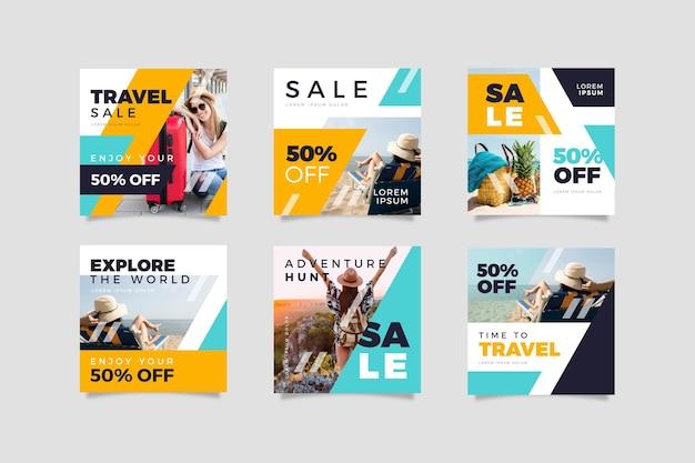 Coleção de posts do instagram de venda de viagens