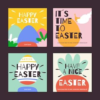 Coleção de posts do instagram do dia de páscoa