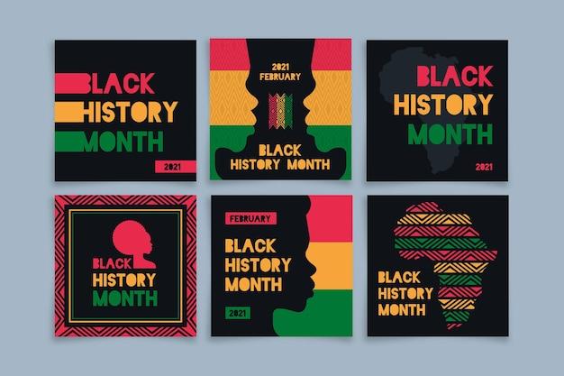 Coleção de posts do instagram do mês da história negra