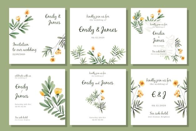 Coleção de posts em aquarela floral instagram para casamento