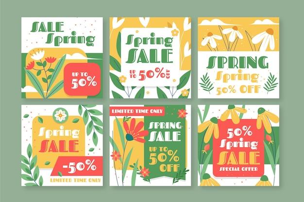Coleção de posts instagram de venda de primavera com design plano