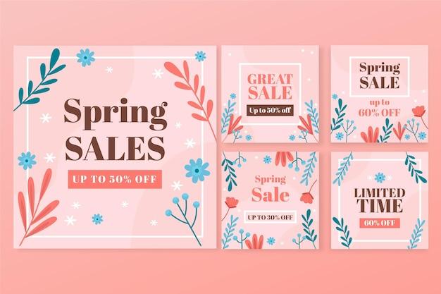 Coleção de posts instagram de venda plana
