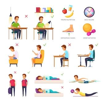 Coleção de postura de crianças em idade escolar