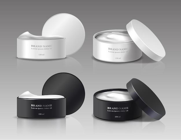 Coleção de potes de creme de beleza com tampas abertas nas cores branca e preta