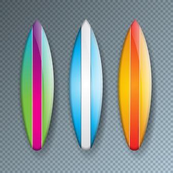 Coleção de prancha de surf colorido isolada na transparente
