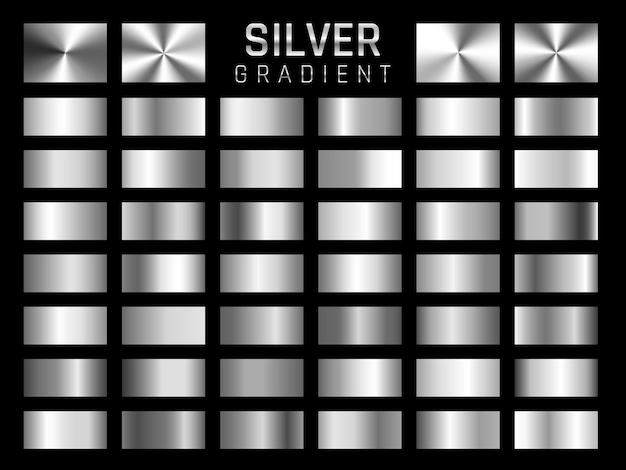 Coleção de prata, gradiente metálico de cromo. placas brilhantes com efeito prateado.
