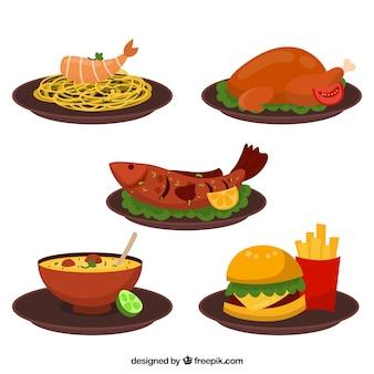 Coleção de prato de comida com deisgn plana