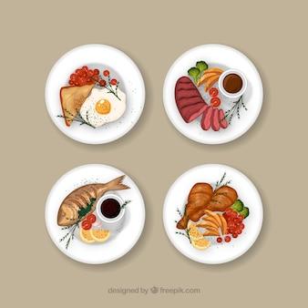 Coleção de prato de comida em aquarela