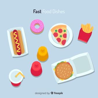 Coleção de prato de comida plana