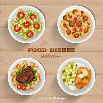 Coleção de prato de comida realista