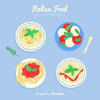 Coleção de prato de comida saborosa