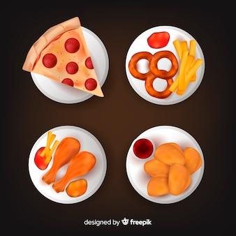 Coleção de prato de junk food